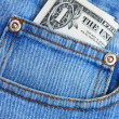 Money in the pocket of a blue jeans — Foto de Stock