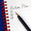Stock Photo: Prepare action plin writing pad isolated on blue