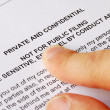 Pointing to the privacy and confidential issues — Stock Photo