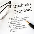 图库照片: Focus on main topics of business proposal