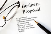 Focus on the main topics of a business proposal — Zdjęcie stockowe