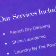 A list of services provided by the laundromat — Foto de Stock