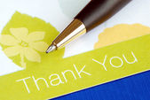 Write the thank you card isolated on blue — Stock Photo