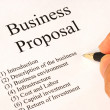 Working on the main topics of a business proposal — Stockfoto