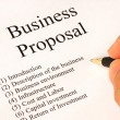 Working on the main topics of a business proposal - 图库照片
