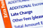 Focus on the Late Charge item in a mortgage payment coupon — Stock Photo