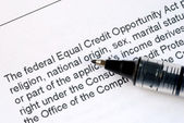 Focus on the details about the Federal Equal Credit Opportunity Act — Stock Photo