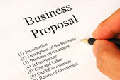 Working on the main topics of a business proposal — Stock Photo