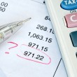 Find a mistake when auditing the financial statement or bank statement — Stock Photo