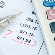 Find a mistake when auditing the financial statement or bank statement — Stock Photo #3499595