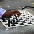 Two men playing chess in a park — Foto de Stock