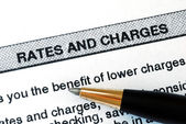 Check out the rates and charges from a bank statement — Foto Stock