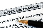 Revisar las tarifas y cargos de un extracto bancario — Foto de Stock