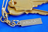 Keychain with the word Memory concepts of remembering the love ones at home — Stock Photo