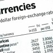 Stock Photo: Check foreign exchange rates from newspaper