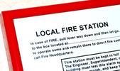 Instruction about the local fire station in a building — Stock Photo