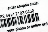 Enter the coupon code for online or in-store purchase — Stock Photo