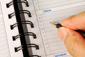 Write down what to do on Friday in the day planner — Stock Photo