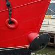 Front view of a red ship — Foto de Stock
