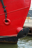 Front view of a red ship — Stok fotoğraf