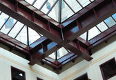 Steel beams in a modern commercial building — Stock Photo