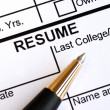 Foto Stock: Close up view of resume section and pen