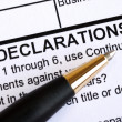 Foto Stock: Close up view of declaration section in document