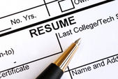 Close up view of the resume section and a pen — Foto Stock