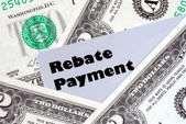 Obtain the rebate payment from a purchase — Stock Photo
