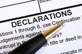 Zbliżenie w dokumencie, w sekcji deklaracji — Zdjęcie stockowe