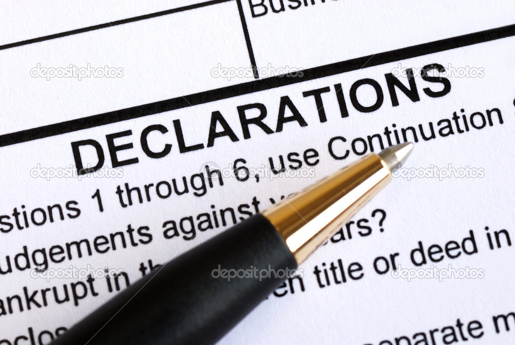 Close up view of the declaration section in a document — Stock Photo #3592343