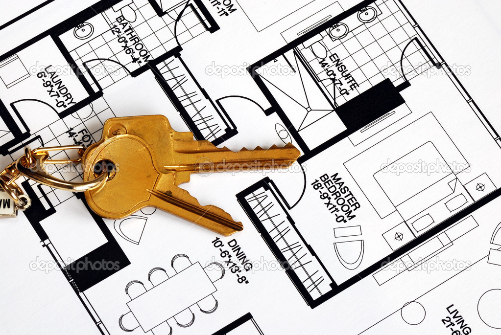 Keys on a floorplan concepts of real estate ownership — Stok fotoğraf #3600820