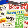 Cut up some coupons to save money — Foto de stock #3614913