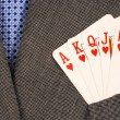 Royal flush from the poker cards concepts of winning in the business — Photo