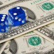 Dices on some money concepts of gambling or taking a risk — Stock Photo