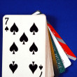 Play cards with credit cards concepts of gambling on credits — ストック写真