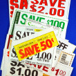 Stack of coupons concepts of saving money — Stockfoto