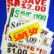 Stack of coupons concepts of saving money — Stok fotoğraf
