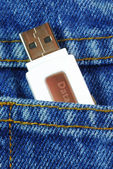 USB flash memory jump drive in a jeans pocket concepts of data mobility — Stock Photo