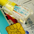 Network cable on a chip card concepts of online shopping — 图库照片
