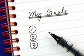 Mes objectifs listent des concepts de la cible et l'objectif — Photo