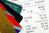 Make the purchase and pay with credit cards — Stock Photo