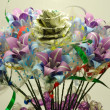 Flowers made of color papers and dollar bills — 图库照片