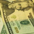 "Close up view of the $20 bill focused on the word ""20"" at the corner — Stock Photo"