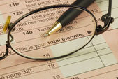Focus on the total income in the Income Tax return — Stock Photo