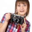 Young girl with old camera — Stock Photo