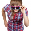 Young beautiful girl in sunglasseses — Stock Photo