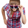 Stock Photo: Young beautiful girl in sunglasseses