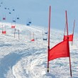 Stock Photo: Ski gates with parallel slalom