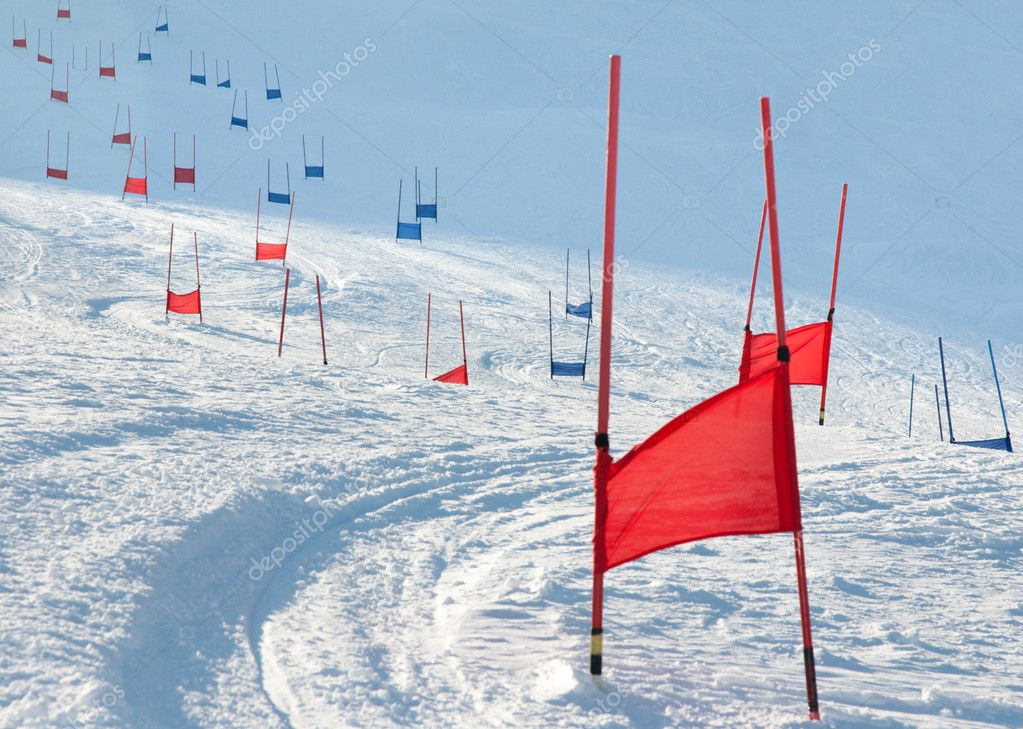 Ski gates with flag red and blue parallel slalom  Stock Photo #2971314
